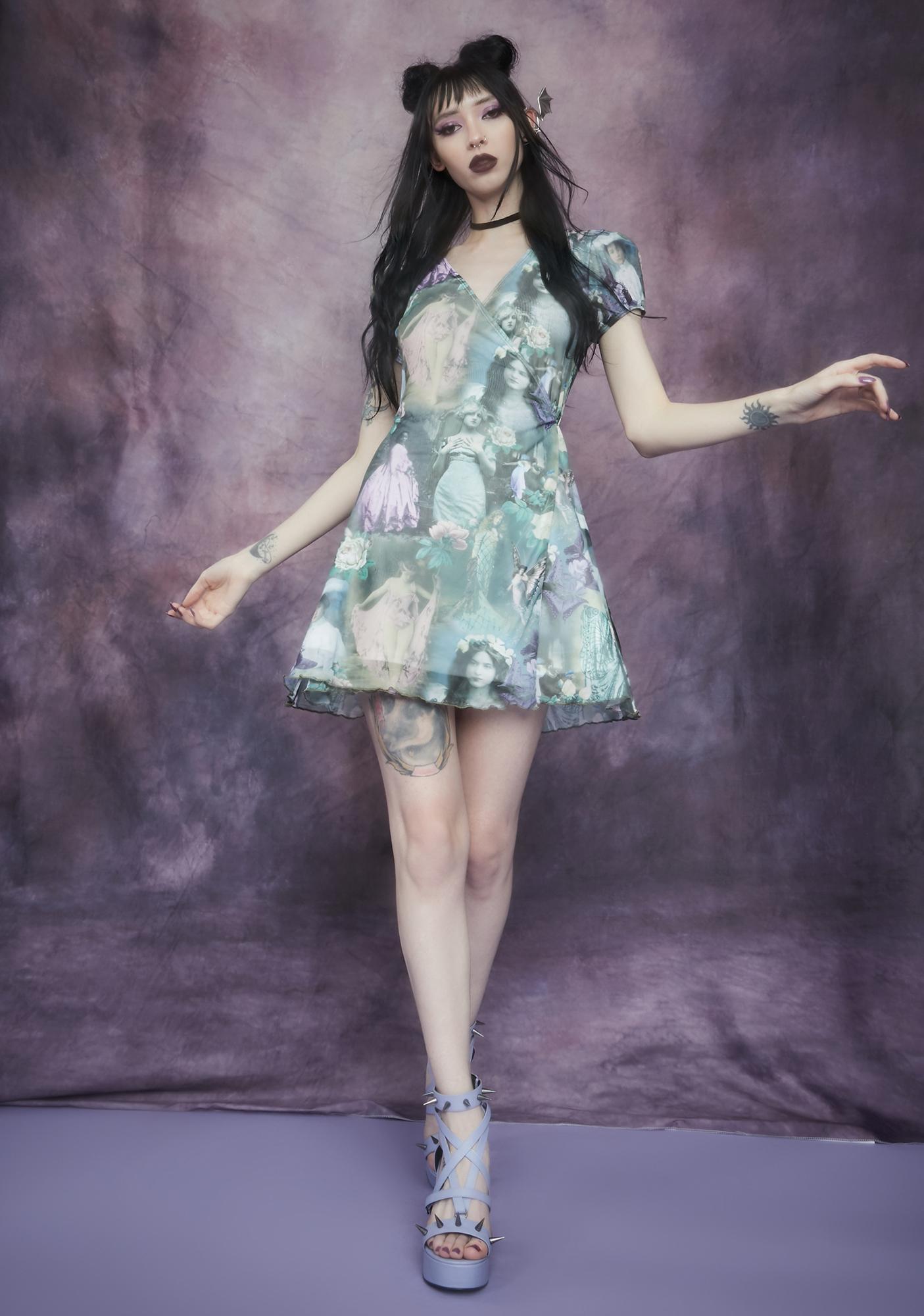 Widow Ink And Feather Portrait Print Wrap Dress