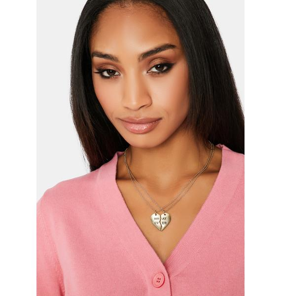 All That Sass Heart Whatever Friendship Necklace