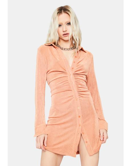 Coral Light The Dark Long Sleeve Mini Dress