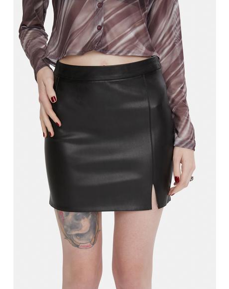 Little Kicks Vegan Leather Mini Skirt