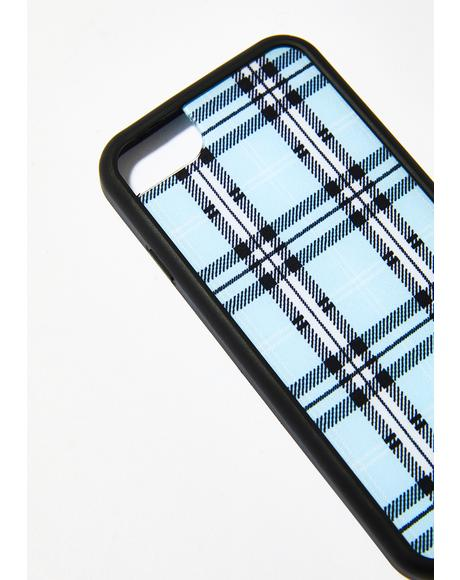Sky Blue Plaid Iphone Case