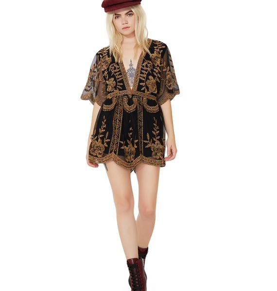Floral Decadence Embroidered Romper