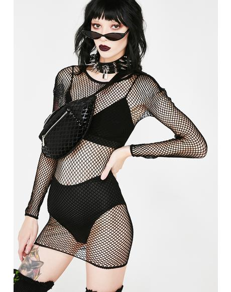Nicole Fishnet Bodycon Dress