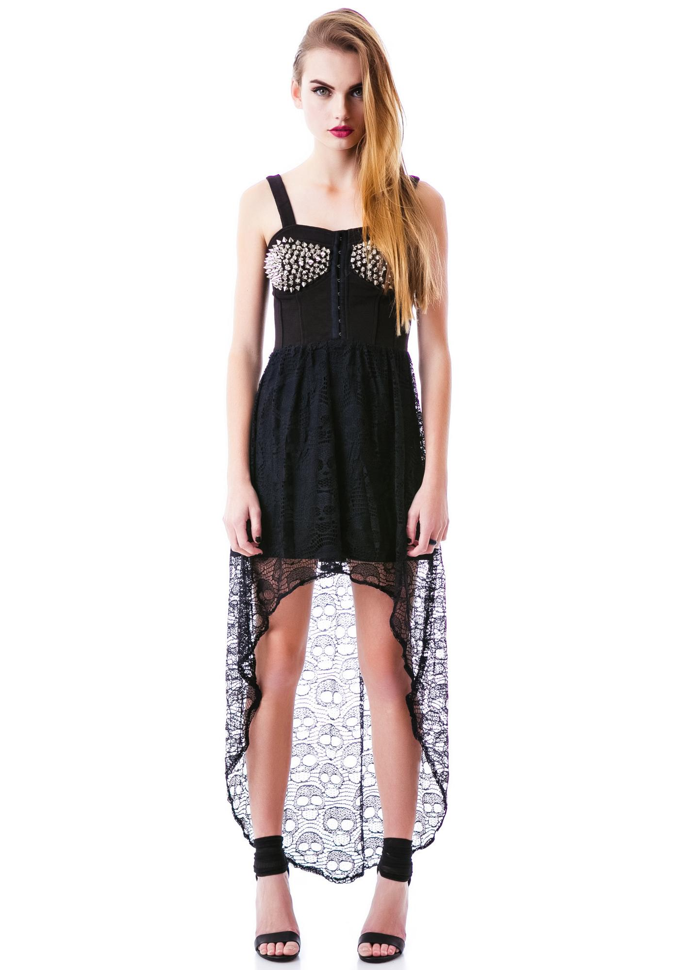 Screaming Skull Studded Hi Low Dress