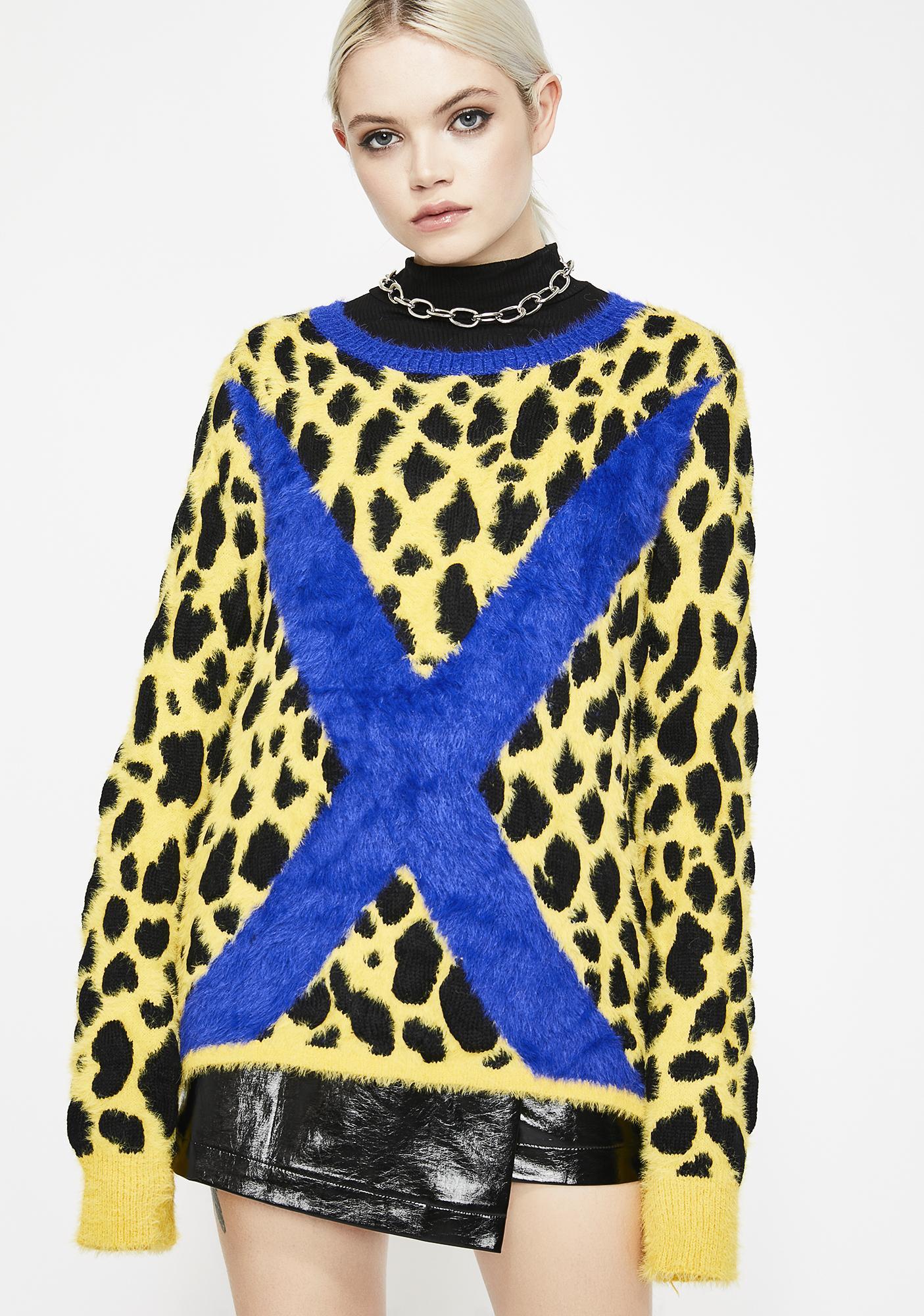 852ad5967a92b2 Graphic X Leopard Fuzzy Sweater   Dolls Kill