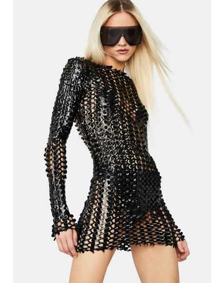 Laser Focus Textured Mini Dress