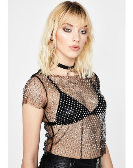 Onyx Such A Gem Rhinestone Top