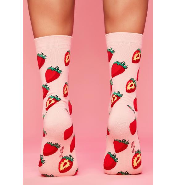 Sweet Strawberry Swing Crew Socks