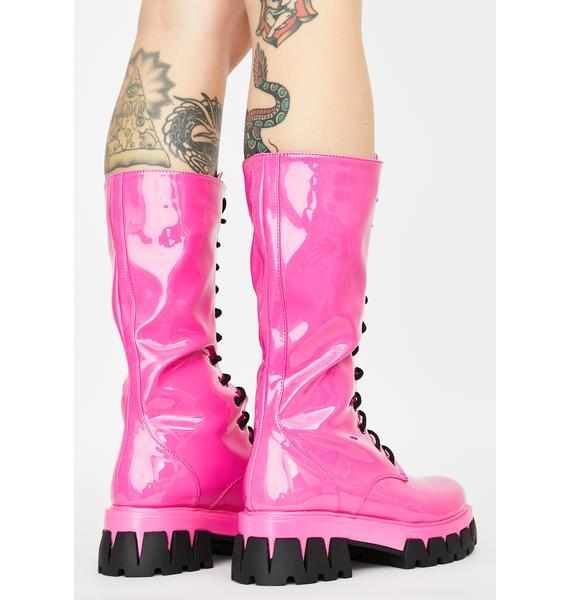 Koi Footwear Pink Trinity Patent Calf High Boots