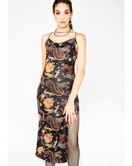 Dragon Print Side Slit Dress