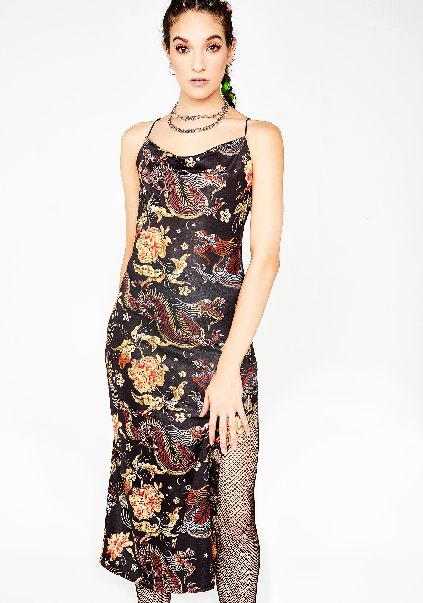 9ada030b70 NEW GIRL ORDER Dragon Print Side Slit Dress