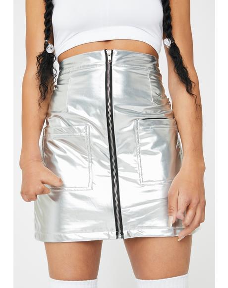 Silver Vinyl High Waisted Skirt