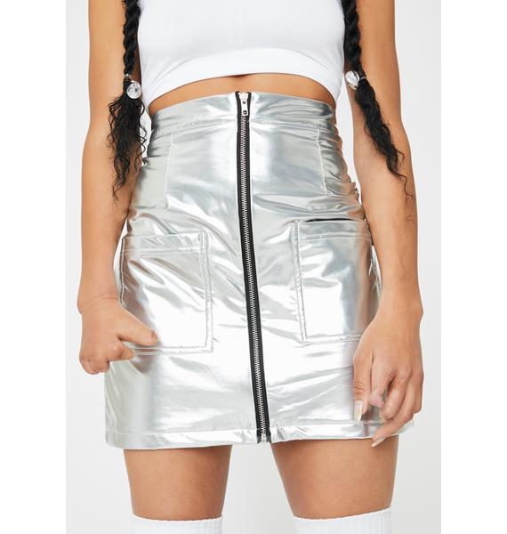 Daisy Street Silver Vinyl High Waisted Skirt