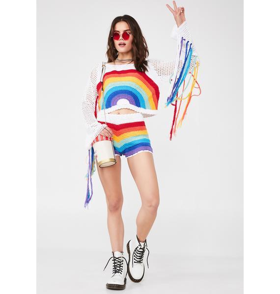 Rainbow Sunshine Crochet Shorts