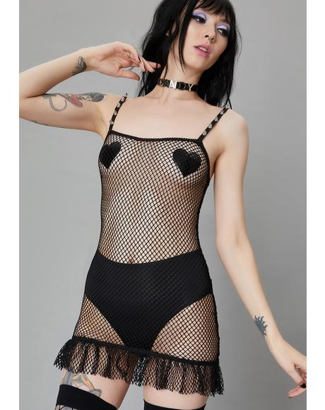 Ink Reverse The Curse Fishnet Slip Dress