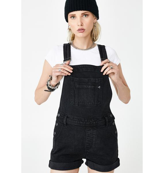 Hidden Denim Black Boyfriend Shortalls