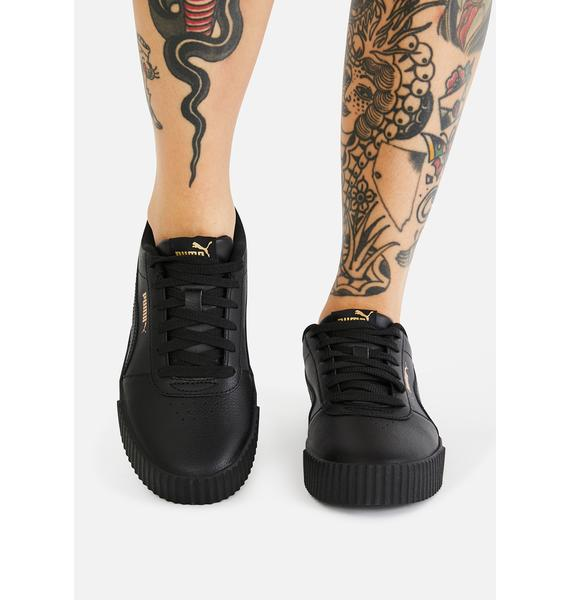 PUMA All Black Carina Leather Sneakers