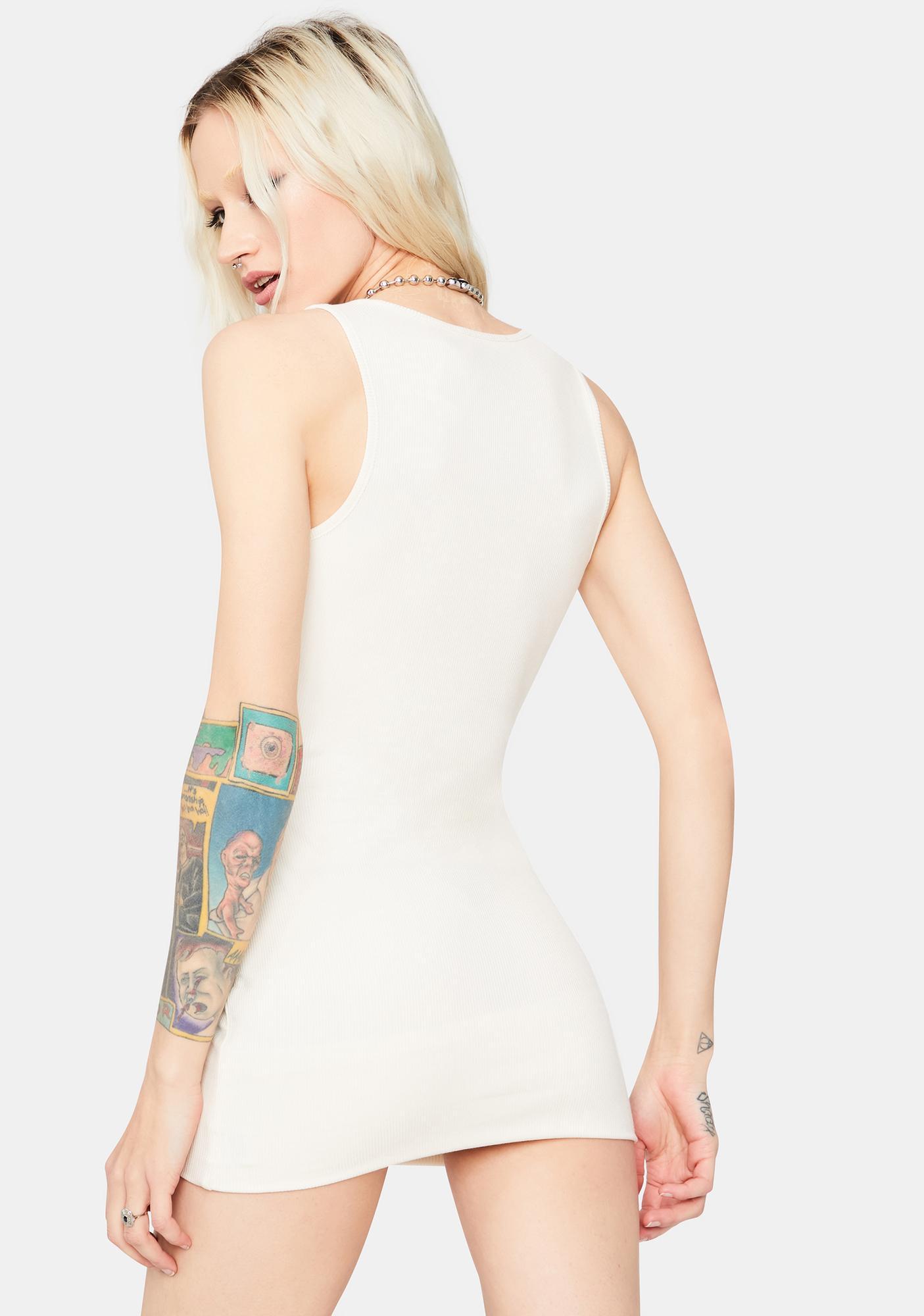 Cream Say Goodbye Ribbed Mini Dress