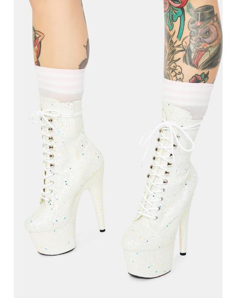 White Multi Glitter Lace Up Heels