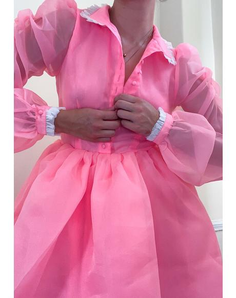 Highlighter Pink Kiki Long Sleeve Dress