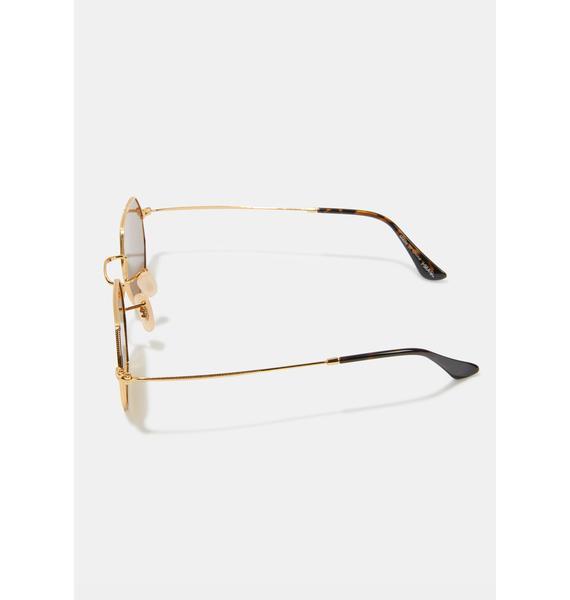 I-SEA Jones Gold Pink Oval Sunglasses