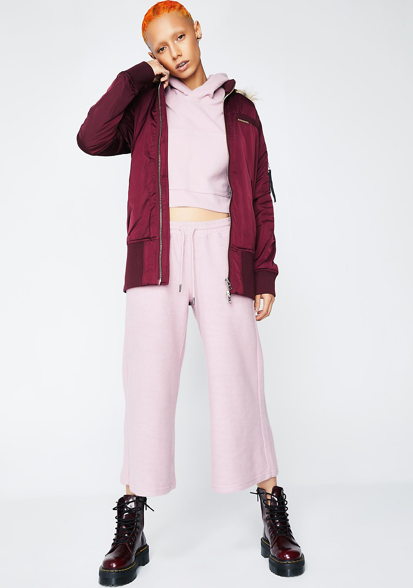 Members Only Burgundy Elongated Bomber