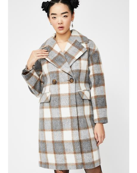 Check Print Double Breast Trench Coat