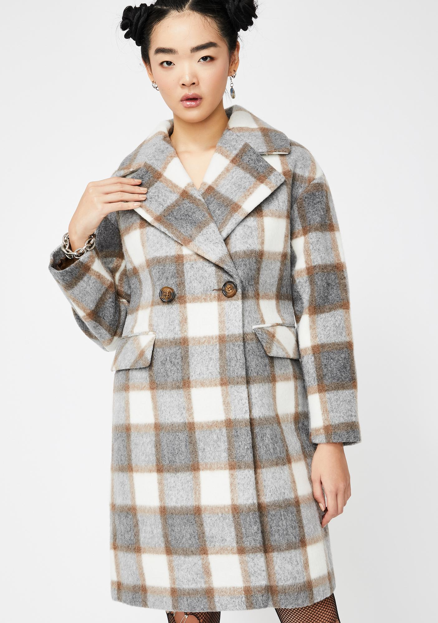 Glamorous Check Print Double Breast Trench Coat