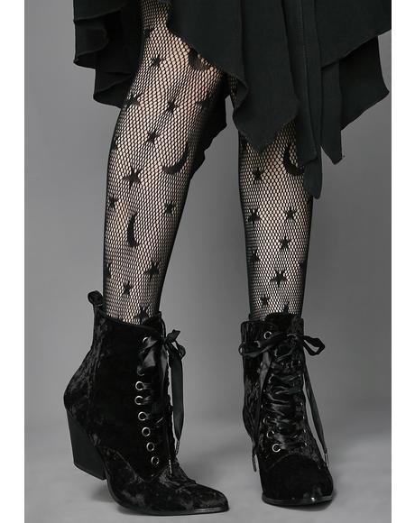 Love Sick Velvet Granny Boots