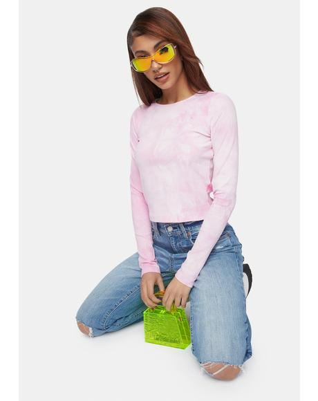 Pink Tie Dye Ribbed Long Sleeve Tee