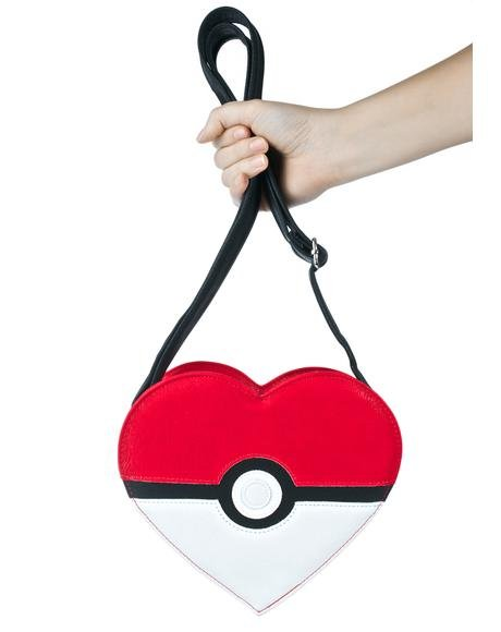 X Pokémon Heart-Shaped Pokéball Crossbody Bag