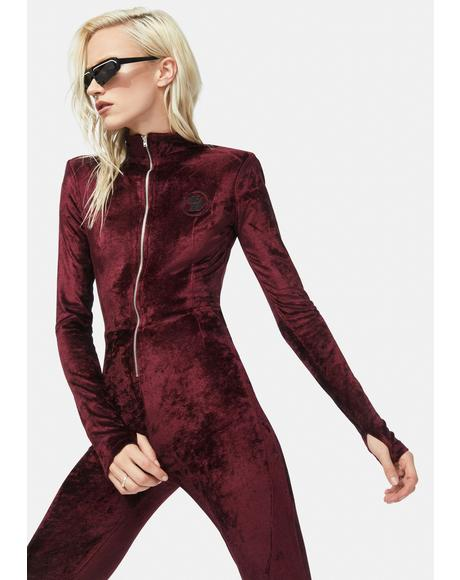 Zip Thru Velvet Jumpsuit