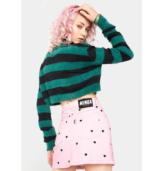 Minga Sweetheart Denim Button Skirt