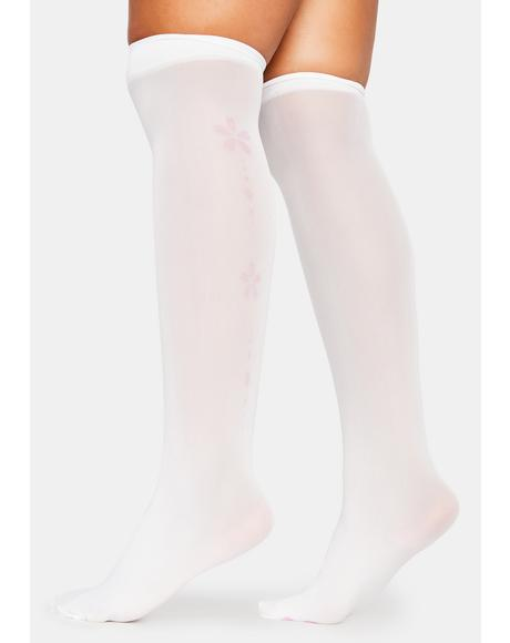Gossamer Garden Sheer Flower Knee High Socks