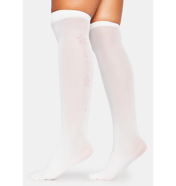 Gossamer Garden Sheer Flower Knee High Socks