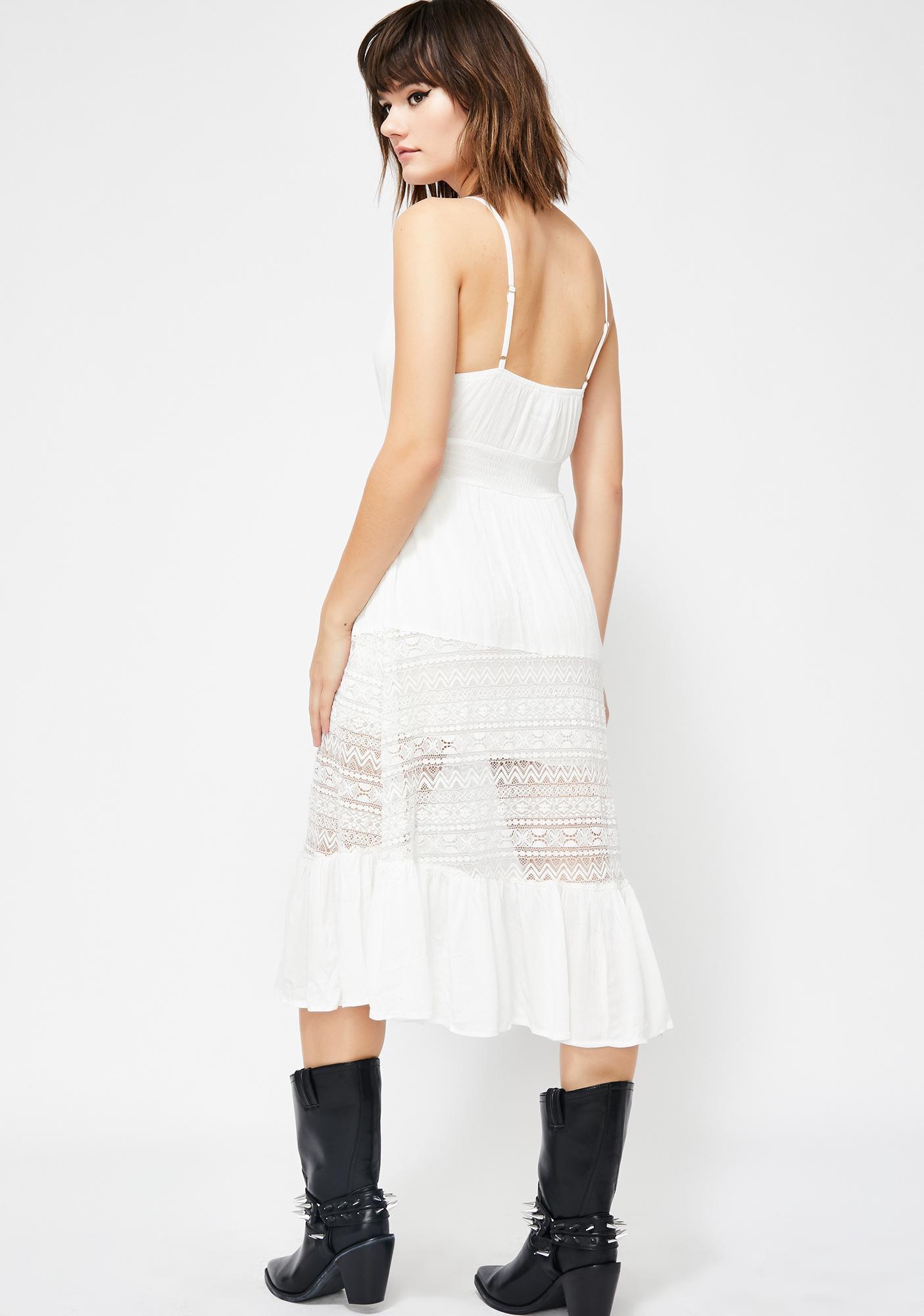 fe6fd6166a1 White Lace Button Front Midi Dress