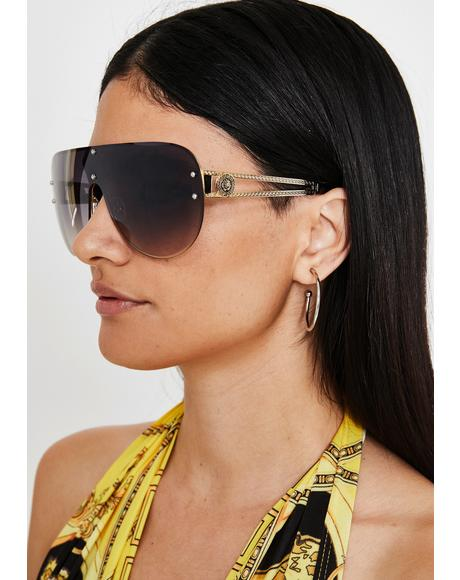 Mocha Realest Bish Aviator Sunglasses