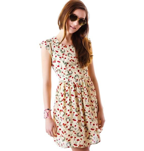 Cherry Blossom Cutout Back Dress