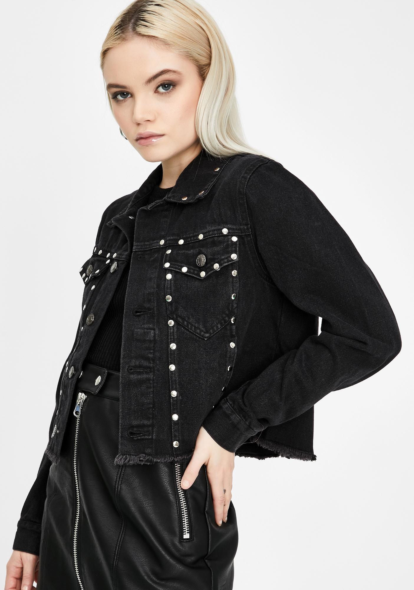 ZEMETA Studded Black Denim Jacket