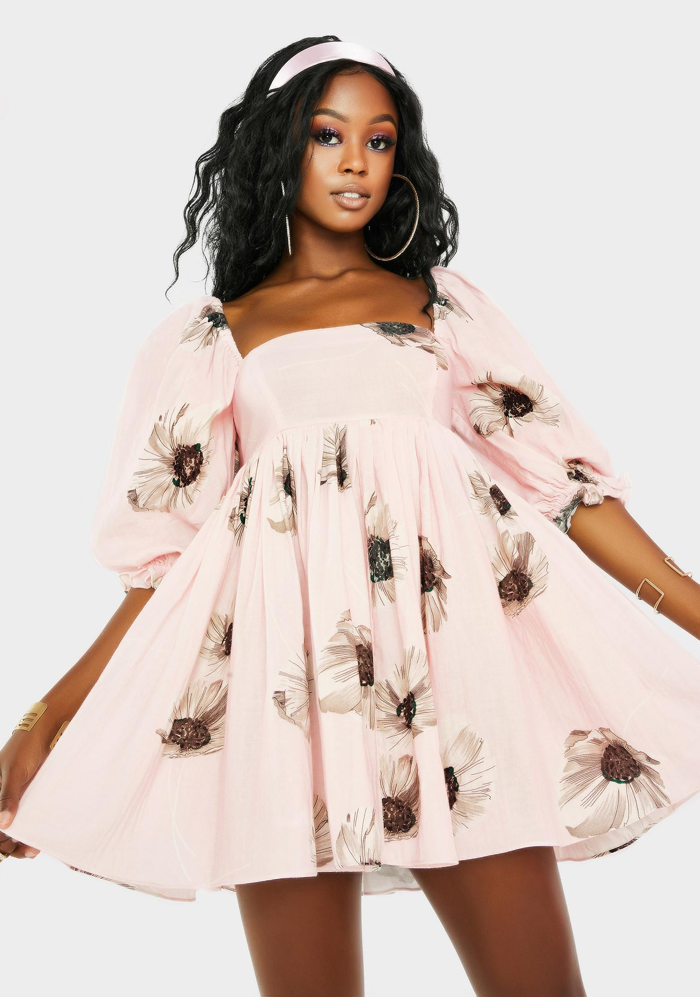 Selkie The Pink Daisy Puff Dress