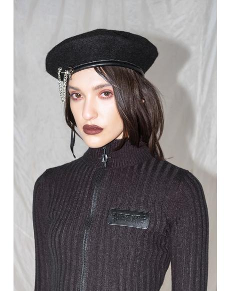 Synth Beret With Safety Pin Chain