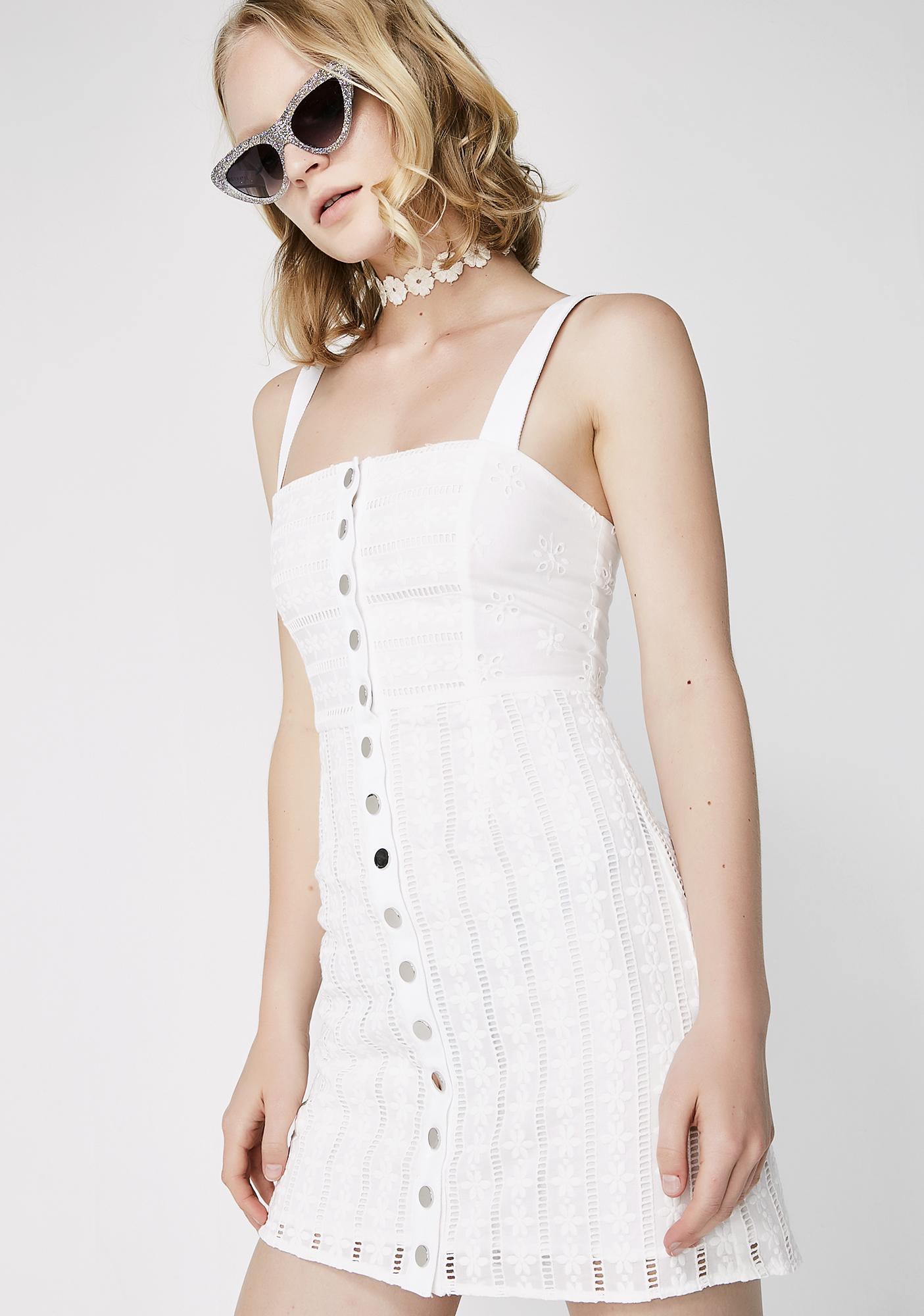 For Love & Lemons Hermosa Eyelet Snap Dress