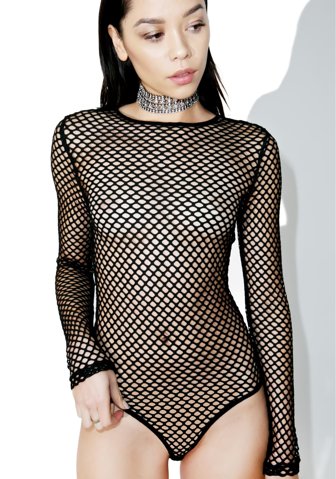 Stevie Fishnet Long Sleeve Bodysuit