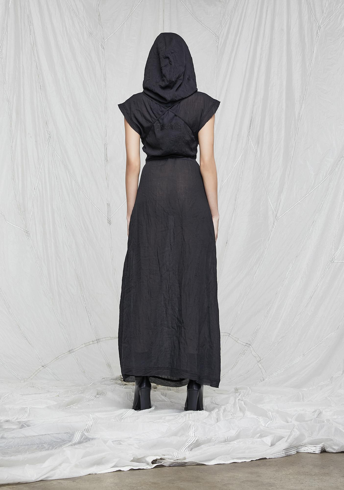 DARKER WAVS Synth Hooded Gauze Tunic Dress And Mask Set