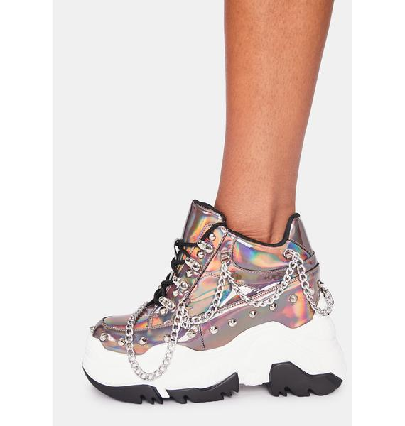 Anthony Wang Pewter Space Candy Platform Sneakers
