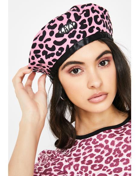 Pink Lazy Leopard Beret