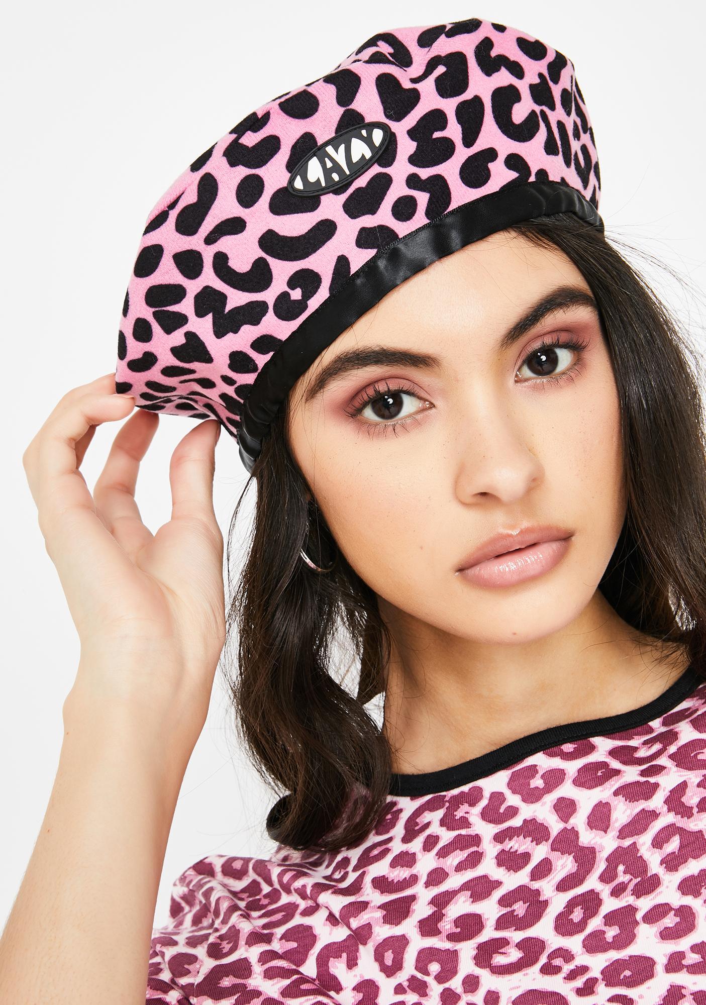Lazy Oaf Pink Lazy Leopard Beret