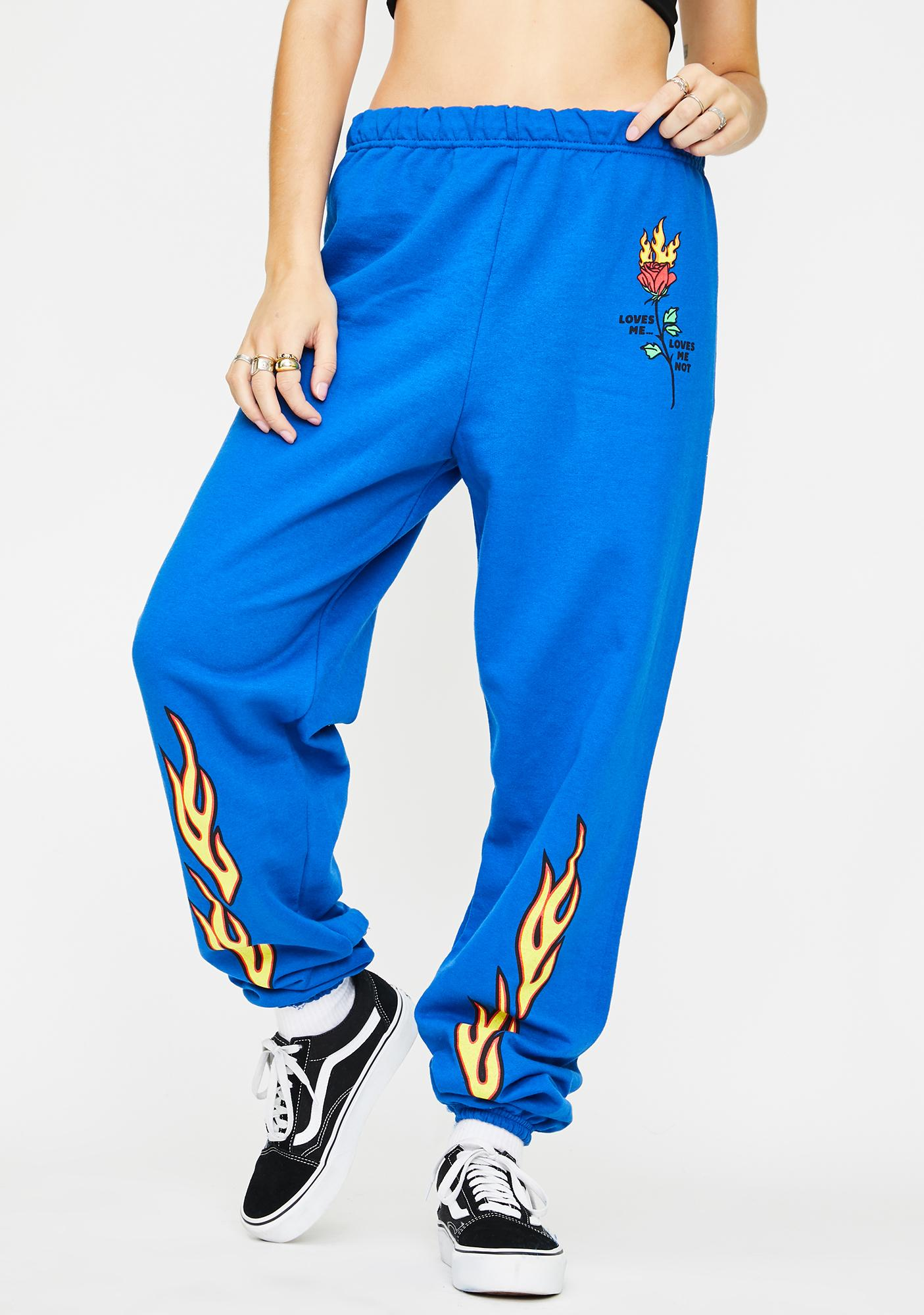 By Samii Ryan Royal Blue Loves Me Not Sweatpants