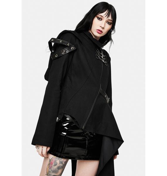 Devil Fashion Hooded Asymmetrical Jacket