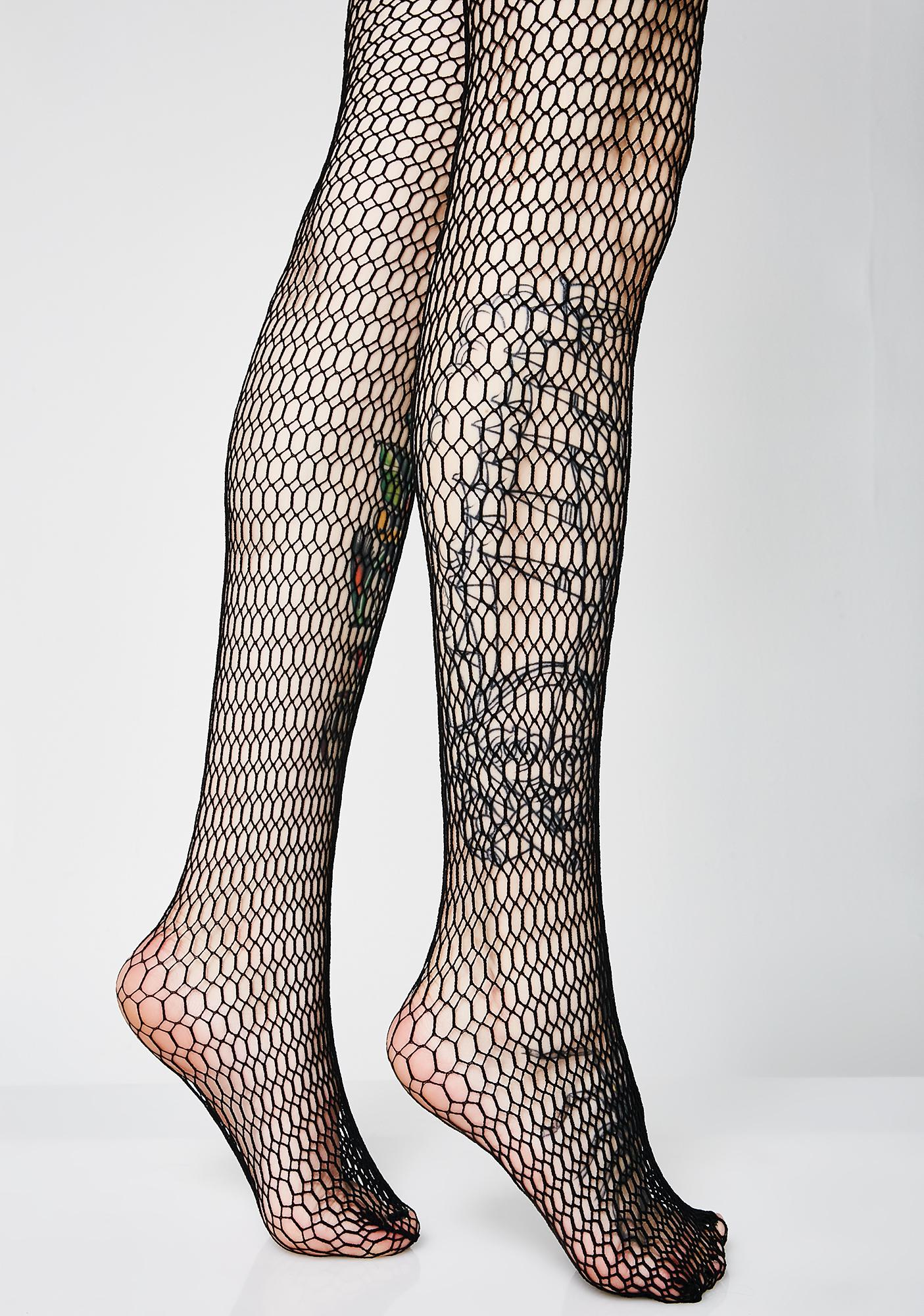 Got The Bills Honeycomb Fishnet Tights